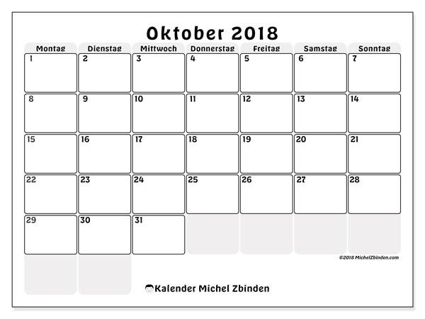 Kalender Oktober 2018 (44MS). Monatlicher Zeitplan zum kostenlosen ausdrucken.