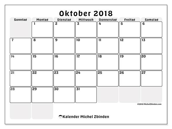 Kalender Oktober 2018 (44SS). Monatlicher Zeitplan zum kostenlosen ausdrucken.