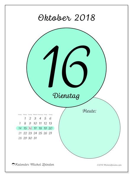 Kalender Oktober 2018 (45-16SS). Kalender für den Tag, um kostenlos zu drucken.