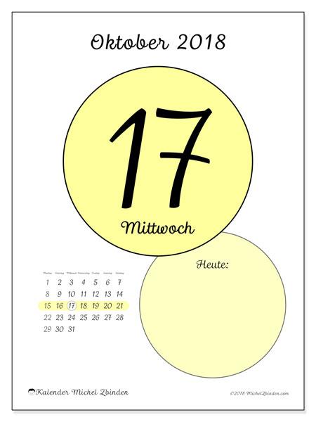 Kalender Oktober 2018 (45-17MS). Kalender für den Tag, um kostenlos zu drucken.