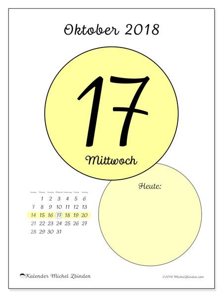 Kalender Oktober 2018 (45-17SS). Kalender für den Tag, um kostenlos zu drucken.