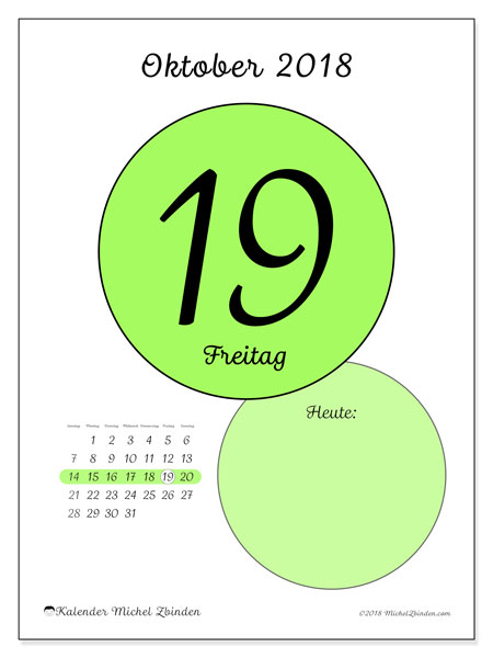 Kalender Oktober 2018 (45-19SS). Täglicher Kalender zum kostenlosen ausdrucken.