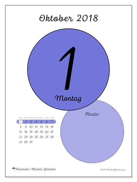 Kalender Oktober 2018 (45-1MS). Kalender für den Tag, um kostenlos zu drucken.