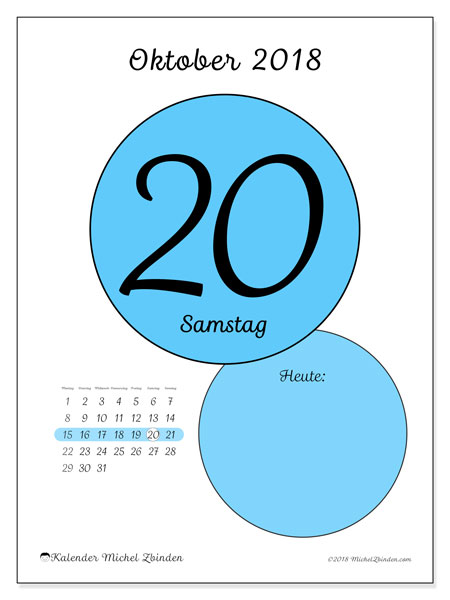 Kalender Oktober 2018 (45-20MS). Täglicher Kalender zum kostenlosen ausdrucken.
