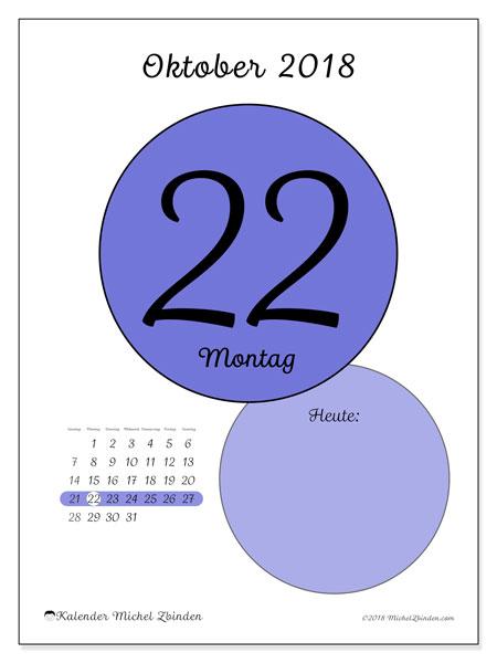 Kalender Oktober 2018 (45-22SS). Täglicher Kalender zum kostenlosen ausdrucken.