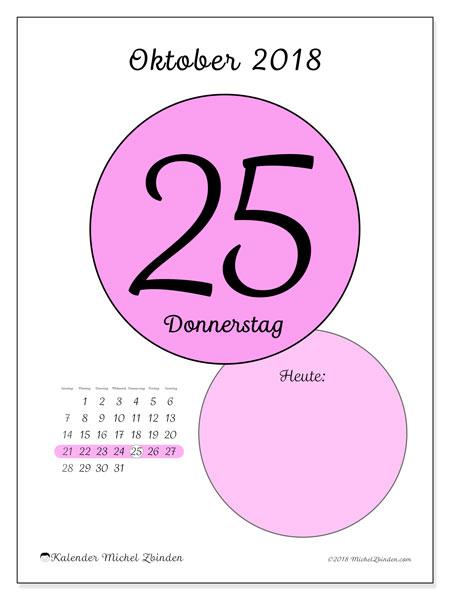 Kalender Oktober 2018 (45-25SS). Täglicher Kalender zum kostenlosen ausdrucken.