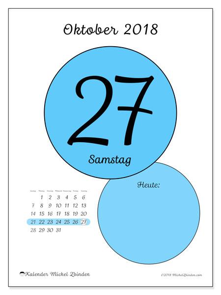 Kalender Oktober 2018 (45-27SS). Täglicher Kalender zum kostenlosen ausdrucken.