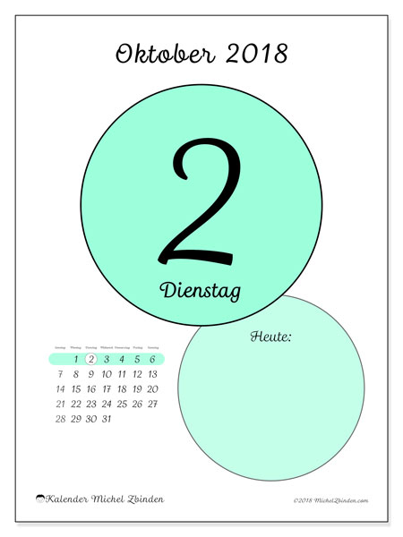 Kalender Oktober 2018 (45-2SS). Täglicher Kalender zum kostenlosen ausdrucken.