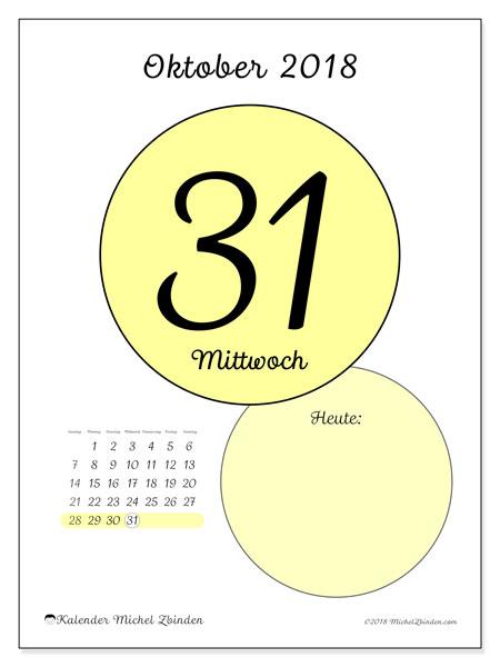 Kalender Oktober 2018 (45-31SS). Täglicher Kalender zum kostenlosen ausdrucken.