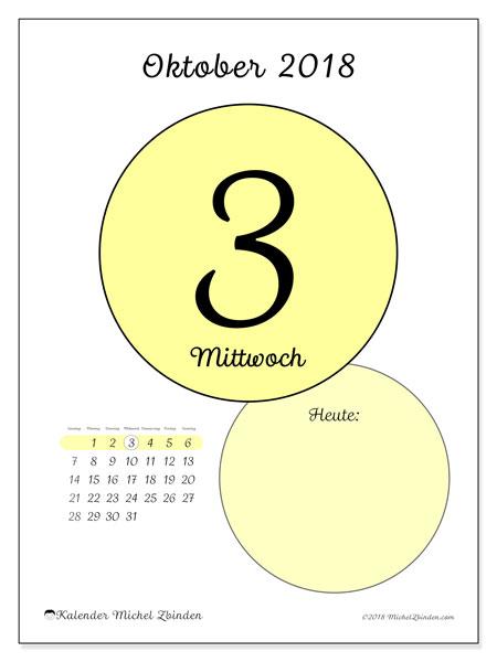 Kalender Oktober 2018 (45-3SS). Täglicher Kalender zum kostenlosen ausdrucken.