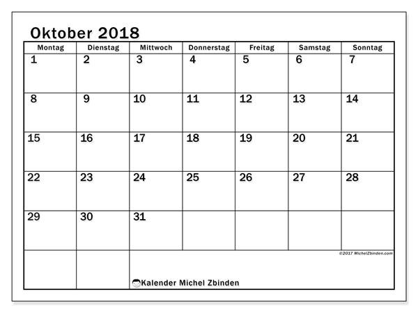 Kalender Oktober 2018 (50MS). Monatskalender zum kostenlosen ausdrucken.
