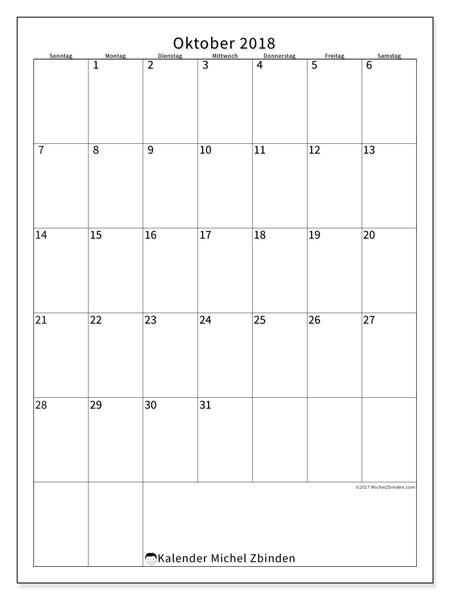 Kalender Oktober 2018 (52SS). Kostenlos ausdruckbare Zeitplan.