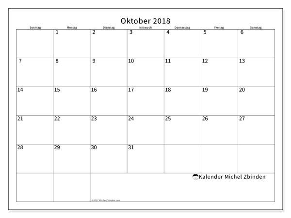 Kalender Oktober 2018 (53SS). Kostenloser Planer zum ausdrucken.