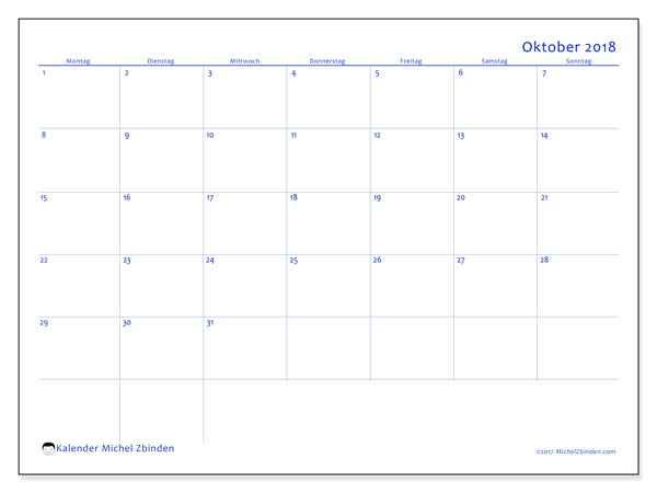 Kalender Oktober 2018 (55MS). Planer zum kostenlosen ausdrucken.