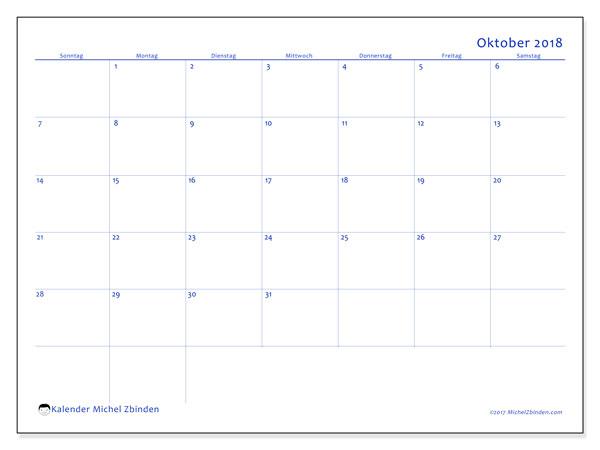Kalender Oktober 2018 (55SS). Kostenlos ausdruckbare Planer.