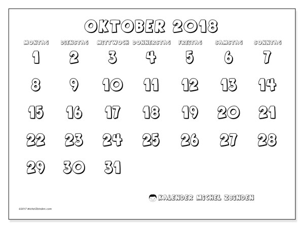 Kalender Oktober 2018 (56MS). Kalender für den Monat zum kostenlosen Ausdrucken.
