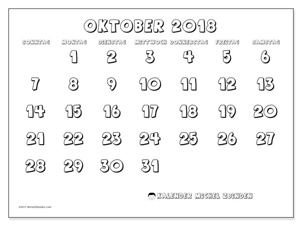 Kalender Oktober 2018 (56SS). Kostenlos ausdruckbare Zeitplan.