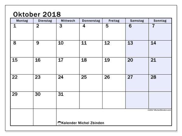 Kalender Oktober 2018 (57MS). Kostenlos ausdruckbare Kalender.