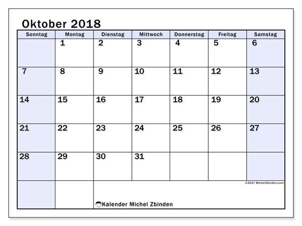 Kalender Oktober 2018 (57SS). Monatskalender zum kostenlosen ausdrucken.