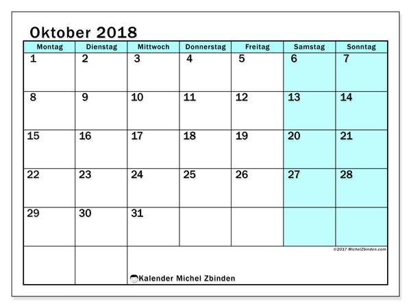 Kalender Oktober 2018 (59MS). Kalender für den Monat zum kostenlosen Ausdrucken.