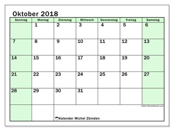 Kalender Oktober 2018 (60SS). Kalender für den Monat zum kostenlosen Ausdrucken.