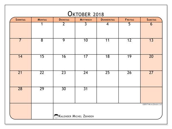 Kalender Oktober 2018 (61SS). Monatlicher Zeitplan zum kostenlosen ausdrucken.