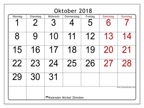 Kalender Oktober 2018 (62MS). Zeitplan zum kostenlosen ausdrucken.