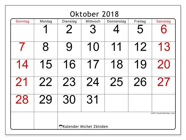 Kalender Oktober 2018 (62SS). Kalender zum kostenlosen ausdrucken.