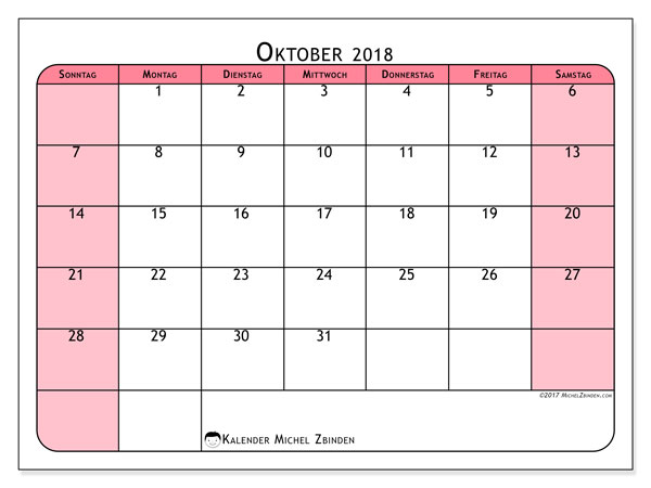 Kalender Oktober 2018 (64SS). Monatskalender zum kostenlosen ausdrucken.