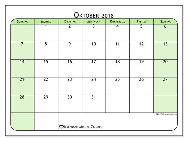 Kalender Oktober 2018 (65SS). Kostenlos ausdruckbare Planer.