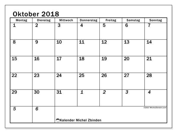 Kalender Oktober 2018 (66MS). Monatlicher Kalender zum kostenlosen ausdrucken.
