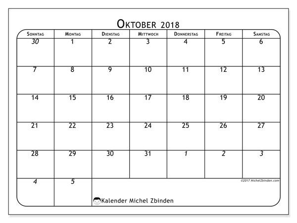 Kalender Oktober 2018 (67SS). Kostenlos ausdruckbare Zeitplan.