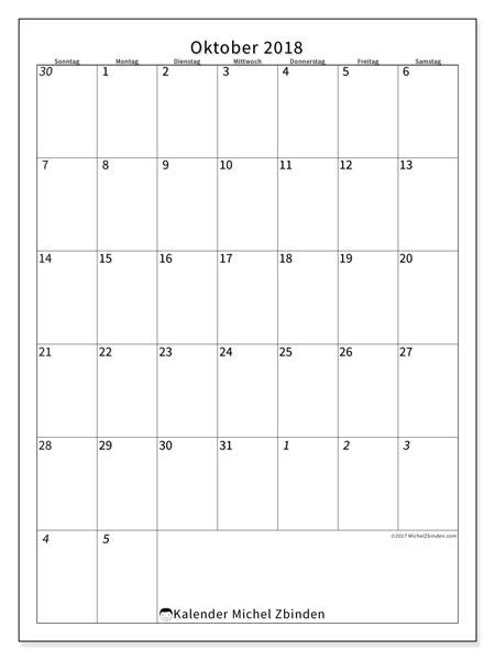 Kalender Oktober 2018 (68SS). Monatskalender zum kostenlosen ausdrucken.