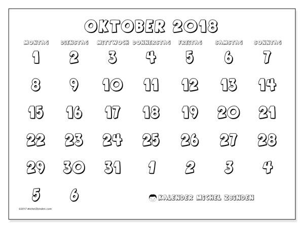 Kalender Oktober 2018 (71MS). Monatskalender zum kostenlosen ausdrucken.
