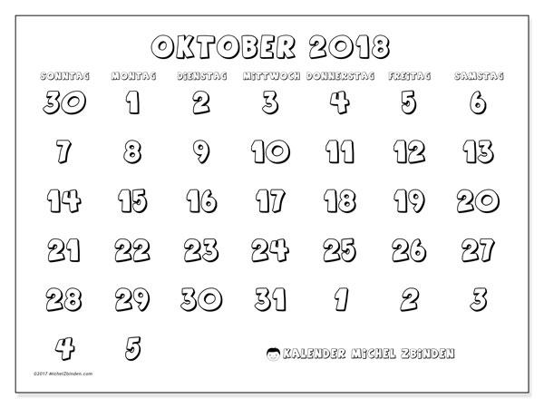 Kalender Oktober 2018 (71SS). Monatlicher Kalender zum kostenlosen ausdrucken.