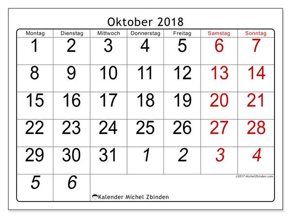 Kalender Oktober 2018 (72MS). Kostenlos ausdruckbare Kalender.