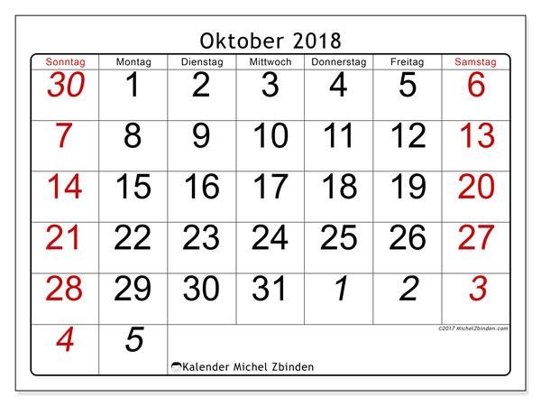 Kalender Oktober 2018 (72SS). Monatlicher Zeitplan zum kostenlosen ausdrucken.