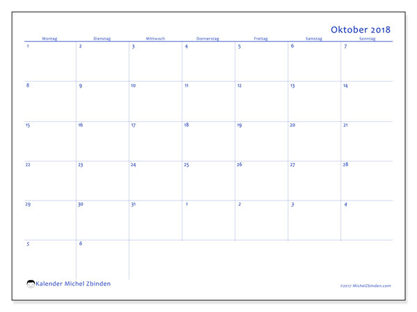 Kalender Oktober 2018 (73MS). Kostenlos ausdruckbare Zeitplan.