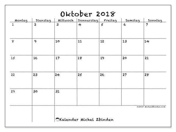 Kalender Oktober 2018 (77MS). Monatlicher Zeitplan zum kostenlosen ausdrucken.