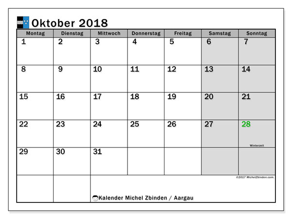 Kalender für Oktober 2018, mit Feiertagen des Kantons Aargau. Zeitplan zum kostenlosen ausdrucken.