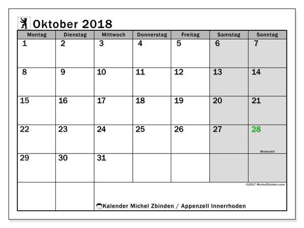 Kalender für Oktober 2018, mit Feiertagen des Kantons Apenzell Innerrhoden. Kalender zum kostenlosen ausdrucken.