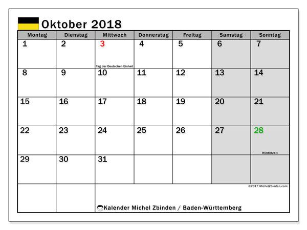 Kalender für Oktober 2018, mit Feiertagen Baden-Württemberg. Kostenlos ausdruckbare Zeitplan.