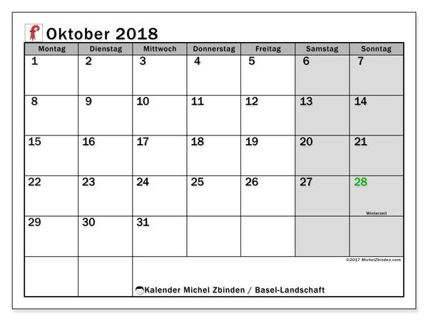 Kalender für Oktober 2018, mit Feiertagen des Kantons Basel Landschaft. Kalender für den Monat zum kostenlosen Ausdrucken.