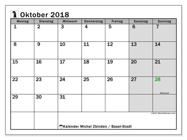 Kalender für Oktober 2018, , mit Feiertagen des Kantons Basel Stadt. Zeitplan zum kostenlosen ausdrucken.