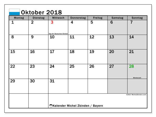 Kalender für Oktober 2018, mit Feiertagen Bayern. Kostenlos ausdruckbare Zeitplan.