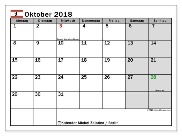 Kalender für Oktober 2018, mit Feiertagen Berlin. Kalender zum kostenlosen ausdrucken.