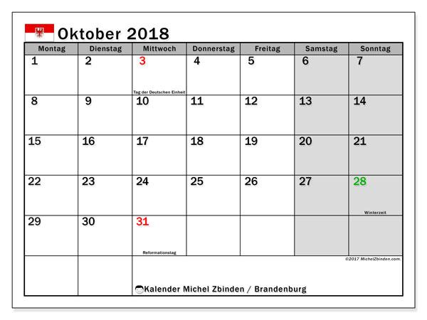 Kalender für Oktober 2018, mit Feiertagen Brandenburg. Kalender für den Monat zum kostenlosen Ausdrucken.