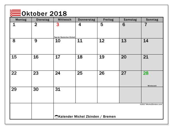 Kalender für Oktober 2018, , mit Feiertagen Bremen. Kostenlos ausdruckbare Kalender.