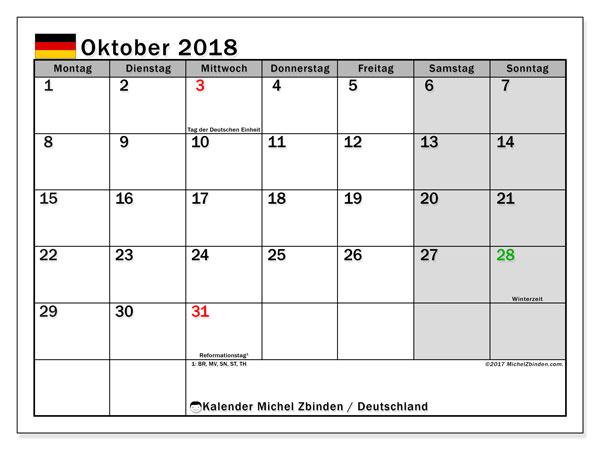 Kalender für Oktober 2018, mit Feiertagen Deutschland. Planer zum kostenlosen ausdrucken.