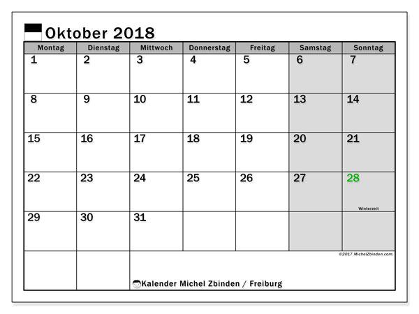 Kalender für Oktober 2018, mit Feiertagen des Kantons Freiburg. Monatlicher Zeitplan zum kostenlosen ausdrucken.